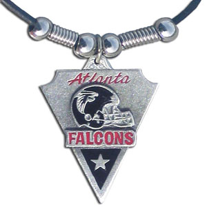 Leather NFL Necklace & Pendant - Atlanta Falcons - Atlanta Falcons  leather necklace with beads and enameled NFL Team Pendant. Check out our entire line of licensed  NFL merchandise! Officially licensed NFL product Licensee: Siskiyou Buckle .com
