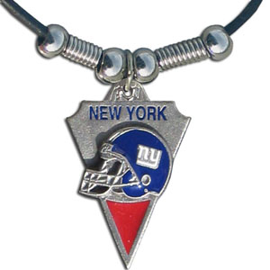 Leather NFL Necklace and Pendant - New York Giants - New York Giants  leather necklace with beads and enameled NFL Team Pendant. Check out our entire line of licensed  NFL merchandise!  Officially licensed NFL product Licensee: Siskiyou Buckle .com