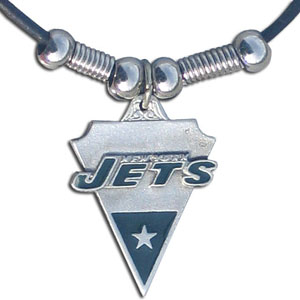 Leather NFL Necklace & Pendant - New York Jets - New York Jets leather necklace with beads and enameled NFL Team Pendant. Check out our entire line of licensed  NFL merchandise! Officially licensed NFL product Licensee: Siskiyou Buckle Thank you for visiting CrazedOutSports.com