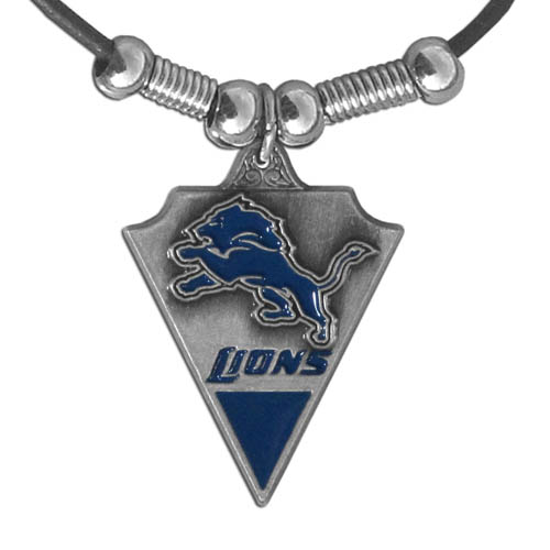 Leather NFL Necklace and Pendant - Detroit Lions - Detroit Lions leather necklace with beads and enameled NFL Team Pendant. Check out our entire line of licensed  NFL merchandise! Officially licensed NFL product Licensee: Siskiyou Buckle .com