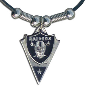 Leather NFL Necklace & Pendant - Oakland Raiders - Oakland Raiders leather necklace with beads and enameled NFL Team Pendant. Check out our entire line of licensed  NFL merchandise! Officially licensed NFL product Licensee: Siskiyou Buckle Thank you for visiting CrazedOutSports.com