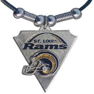 Leather NFL Necklace & Pendant - St. Louis Rams - St. Louis Rams leather necklace with beads and enameled NFL Team Pendant. Check out our entire line of licensed  NFL merchandise! Officially licensed NFL product Licensee: Siskiyou Buckle Thank you for visiting CrazedOutSports.com