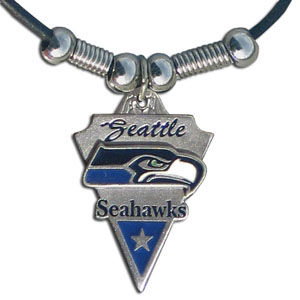 Leather NFL Necklace & Pendant - Seattle Seahawks - Seattle Seahawks leather necklace with beads and enameled NFL Team Pendant. Check out our entire line of licensed  NFL merchandise! Officially licensed NFL product Licensee: Siskiyou Buckle Thank you for visiting CrazedOutSports.com