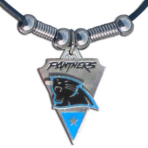 Leather NFL Necklace & Pendant - Carolina Panthers - Carolina Panthers  leather necklace with beads and enameled NFL Team Pendant. Check out our entire line of licensed  NFL merchandise! Officially licensed NFL product Licensee: Siskiyou Buckle .com
