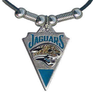 Leather NFL Necklace & Pendant - Jacksonville Jaguars - Jacksonville Jaguars  leather necklace with beads and enameled NFL Team Pendant. Check out our entire line of licensed  NFL merchandise! Officially licensed NFL product Licensee: Siskiyou Buckle Thank you for visiting CrazedOutSports.com