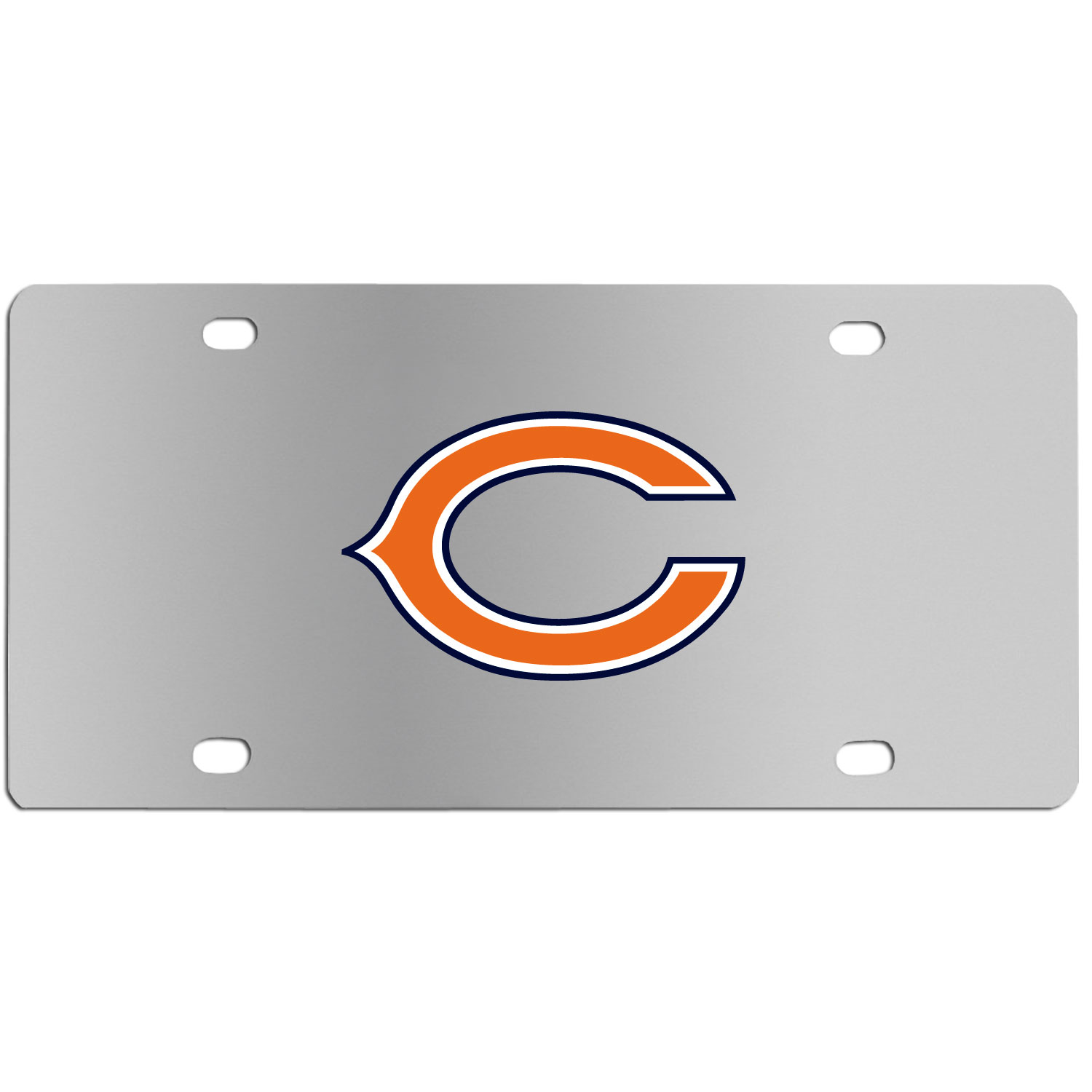Chicago Bears Steel License Plate Wall Plaque - This high-quality stainless steel license plate features a detailed team logo on a the polished surface. The attractive plate is perfect for wall mounting in your home or office to become the perfect die-hard Chicago Bears fan decor.