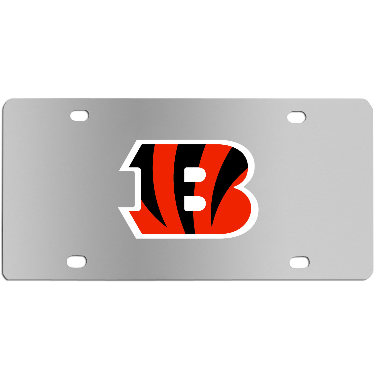 Cincinnati Bengals Steel License Plate Wall Plaque - This high-quality stainless steel license plate features a detailed team logo on a the polished surface. The attractive plate is perfect for wall mounting in your home or office to become the perfect die-hard Cincinnati Bengals fan decor.