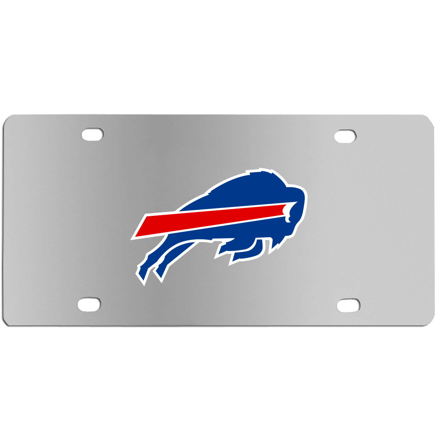 Buffalo Bills Steel License Plate Wall Plaque - This high-quality stainless steel license plate features a detailed team logo on a the polished surface. The attractive plate is perfect for wall mounting in your home or office to become the perfect die-hard Buffalo Bills fan decor.