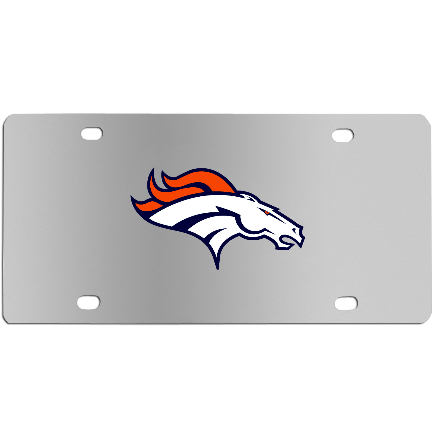 Denver Broncos Steel License Plate Wall Plaque - This high-quality stainless steel license plate features a detailed team logo on a the polished surface. The attractive plate is perfect for wall mounting in your home or office to become the perfect die-hard Denver Broncos fan decor.