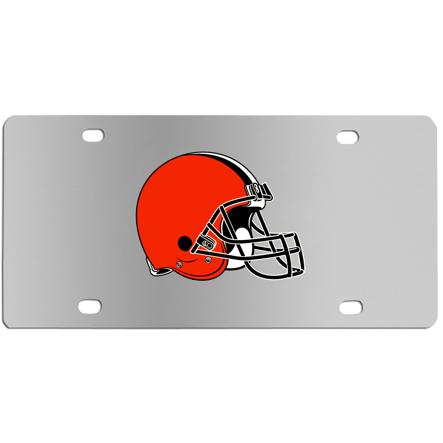 Cleveland Browns Steel License Plate Wall Plaque - This high-quality stainless steel license plate features a detailed team logo on a the polished surface. The attractive plate is perfect for wall mounting in your home or office to become the perfect die-hard Cleveland Browns fan decor.