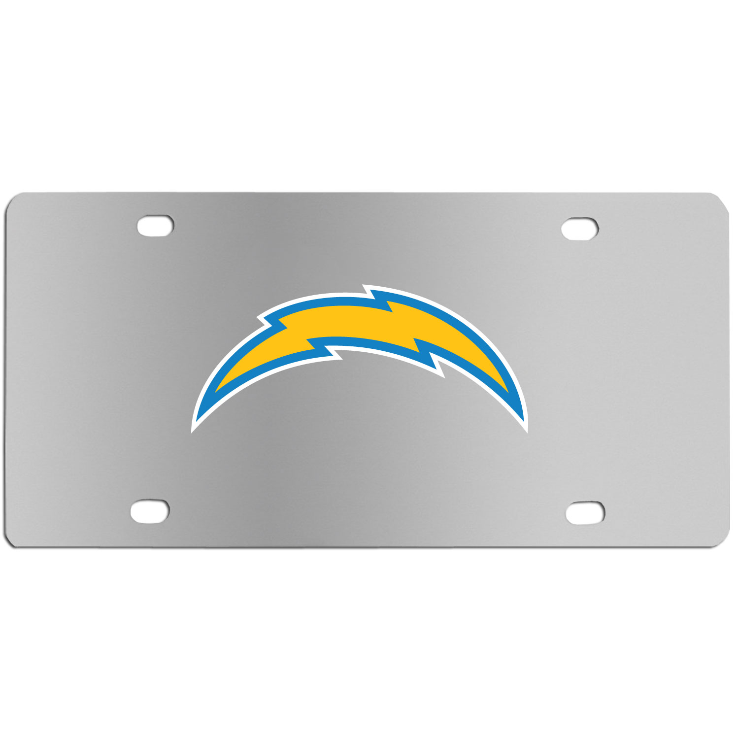 Los Angeles Chargers Steel License Plate Wall Plaque - This high-quality stainless steel license plate features a detailed team logo on a the polished surface. The attractive plate is perfect for wall mounting in your home or office to become the perfect die-hard Los Angeles Chargers fan decor.
