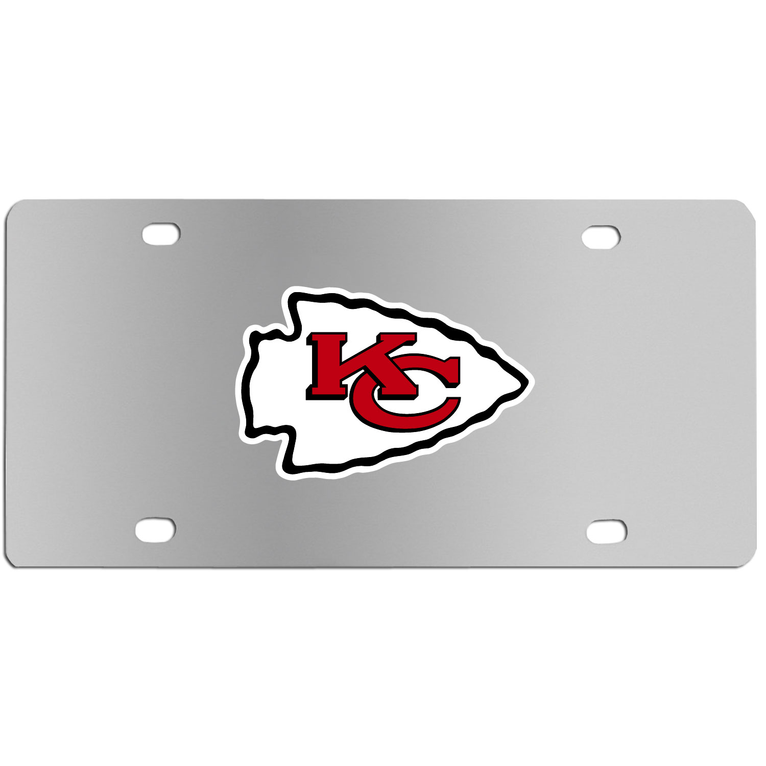 Kansas City Chiefs Steel License Plate Wall Plaque - This high-quality stainless steel license plate features a detailed team logo on a the polished surface. The attractive plate is perfect for wall mounting in your home or office to become the perfect die-hard Kansas City Chiefs fan decor.