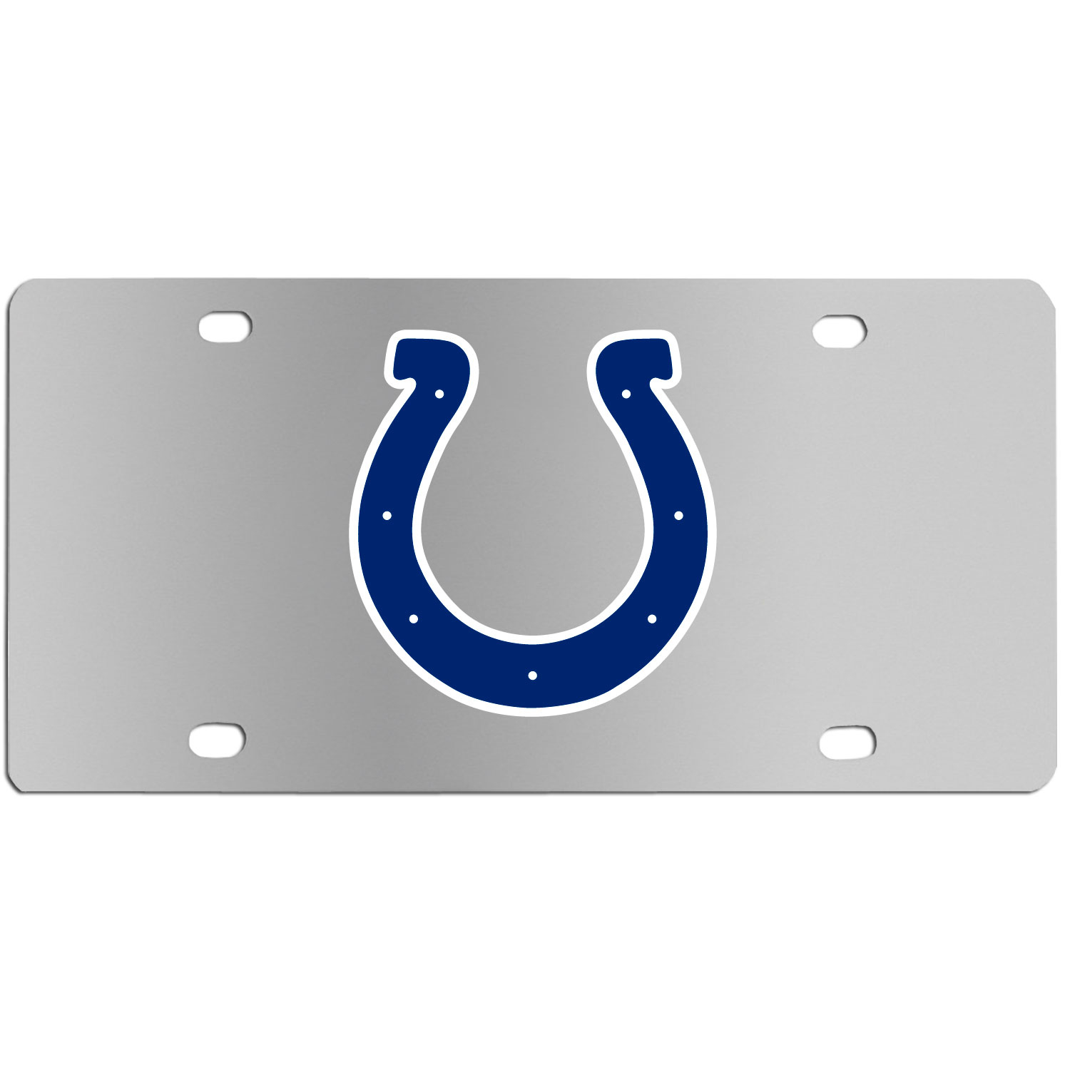 Indianapolis Colts Steel License Plate Wall Plaque - This high-quality stainless steel license plate features a detailed team logo on a the polished surface. The attractive plate is perfect for wall mounting in your home or office to become the perfect die-hard Indianapolis Colts fan decor.