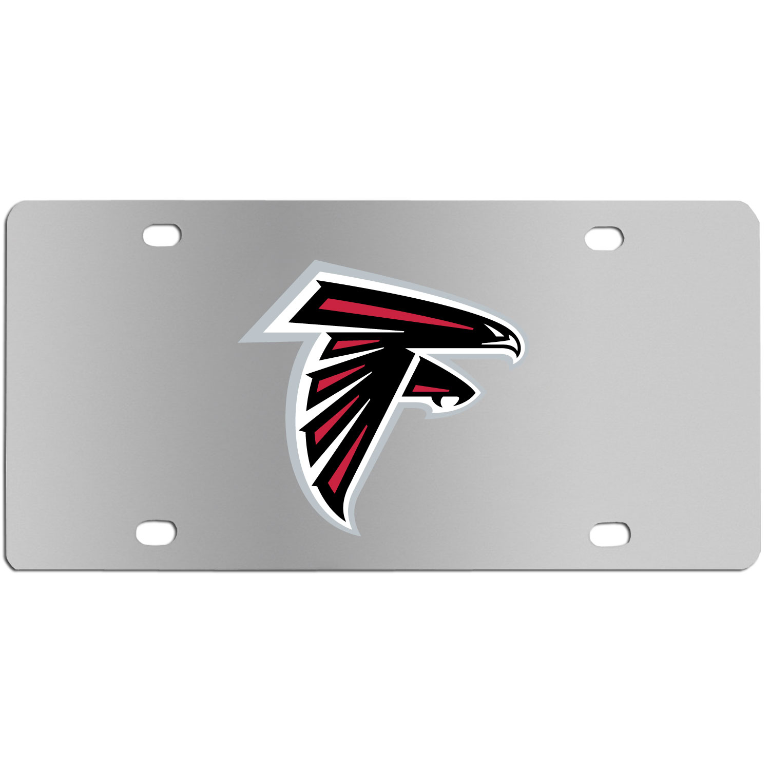 Atlanta Falcons Steel License Plate Wall Plaque - This high-quality stainless steel license plate features a detailed team logo on a the polished surface. The attractive plate is perfect for wall mounting in your home or office to become the perfect die-hard Atlanta Falcons fan decor.