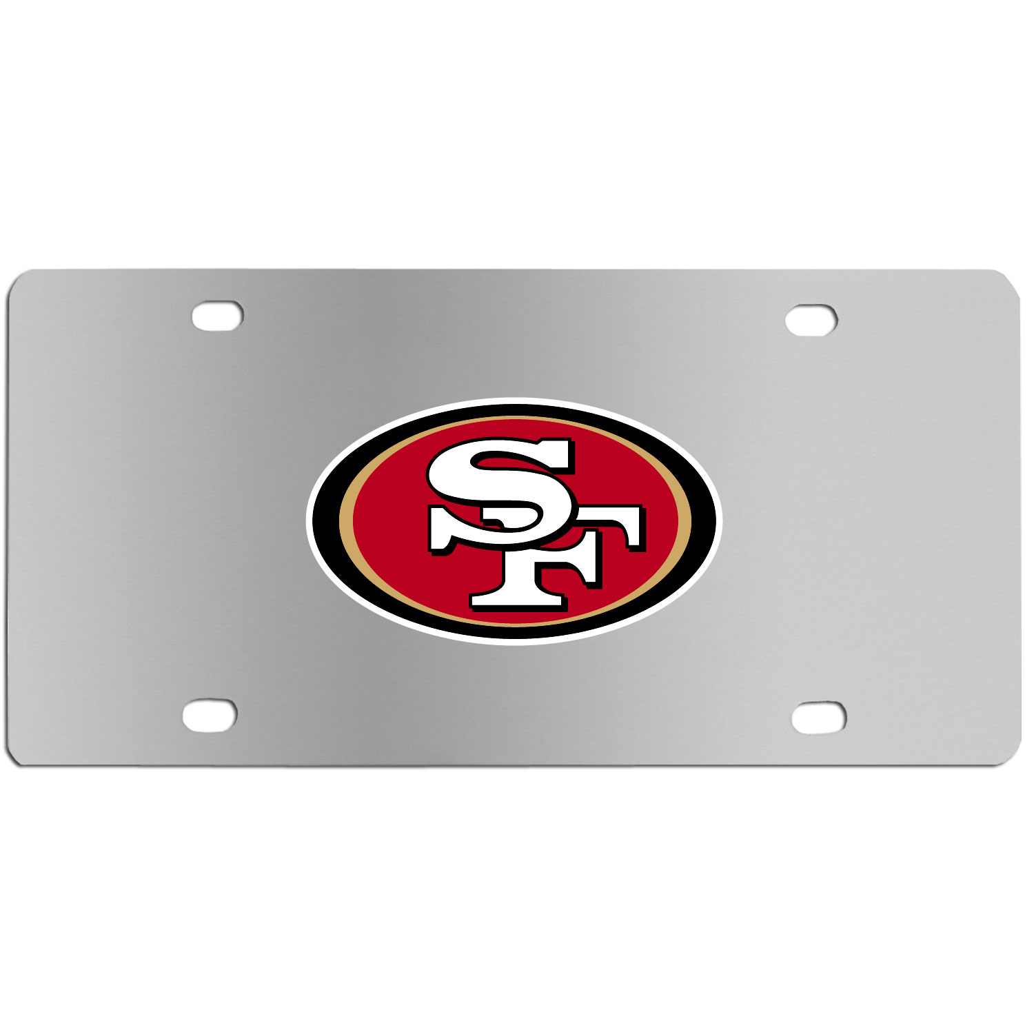 San Francisco 49ers Steel License Plate Wall Plaque - This high-quality stainless steel license plate features a detailed team logo on a the polished surface. The attractive plate is perfect for wall mounting in your home or office to become the perfect die-hard San Francisco 49ers fan decor.