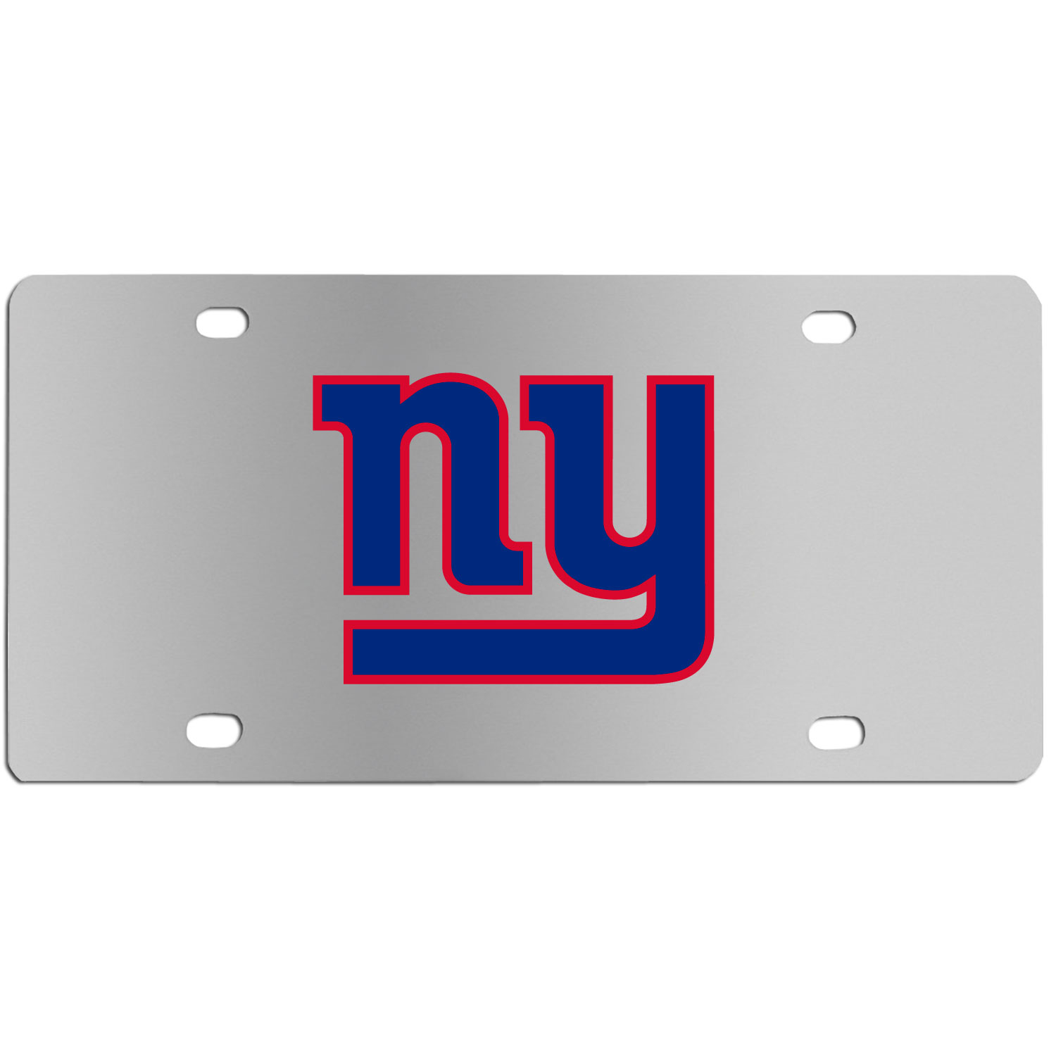 New York Giants Steel License Plate Wall Plaque - This high-quality stainless steel license plate features a detailed team logo on a the polished surface. The attractive plate is perfect for wall mounting in your home or office to become the perfect die-hard New York Giants fan decor.