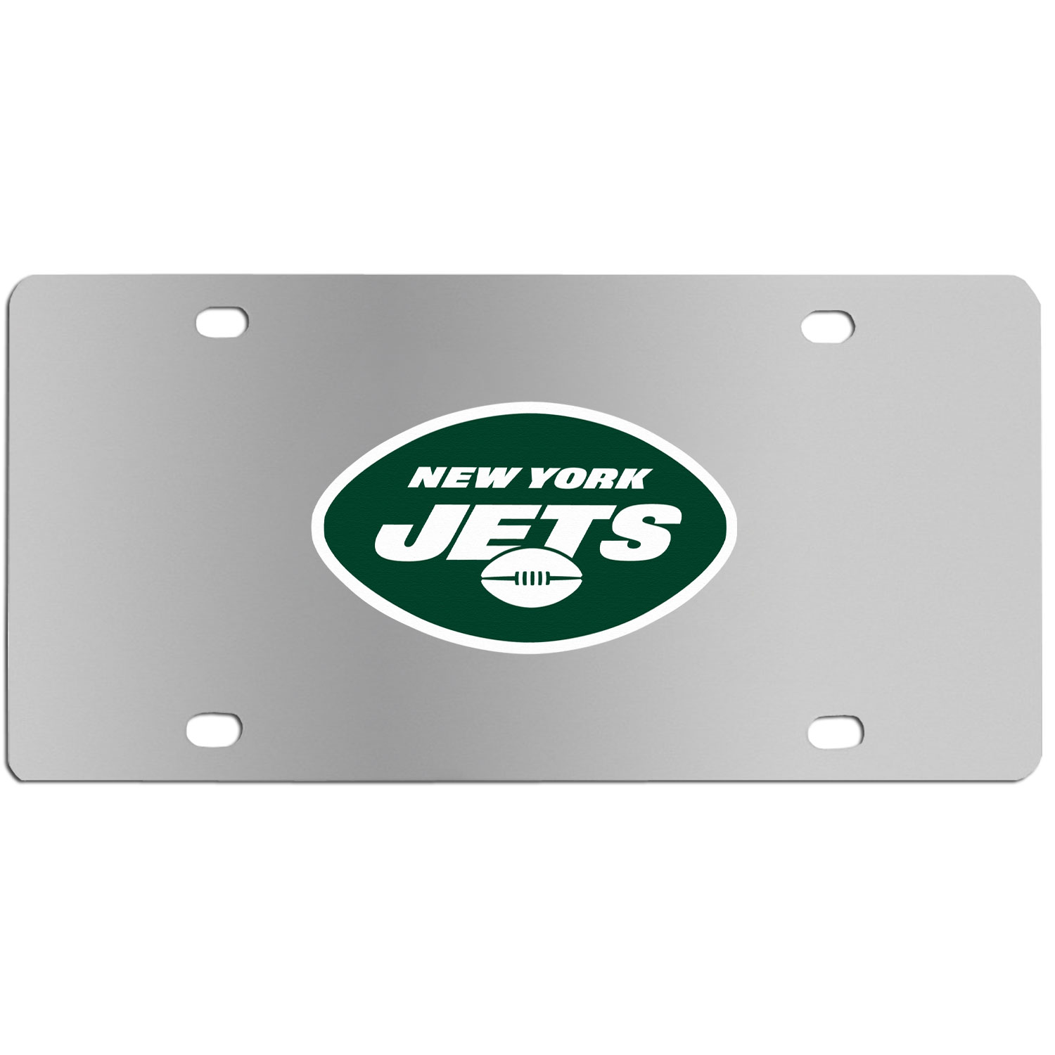 New York Jets Steel License Plate Wall Plaque - This high-quality stainless steel license plate features a detailed team logo on a the polished surface. The attractive plate is perfect for wall mounting in your home or office to become the perfect die-hard New York Jets fan decor.