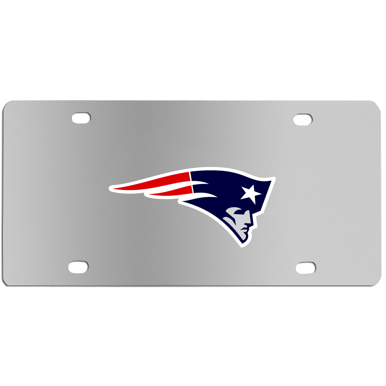 New England Patriots Steel License Plate Wall Plaque - This high-quality stainless steel license plate features a detailed team logo on a the polished surface. The attractive plate is perfect for wall mounting in your home or office to become the perfect die-hard New England Patriots fan decor.