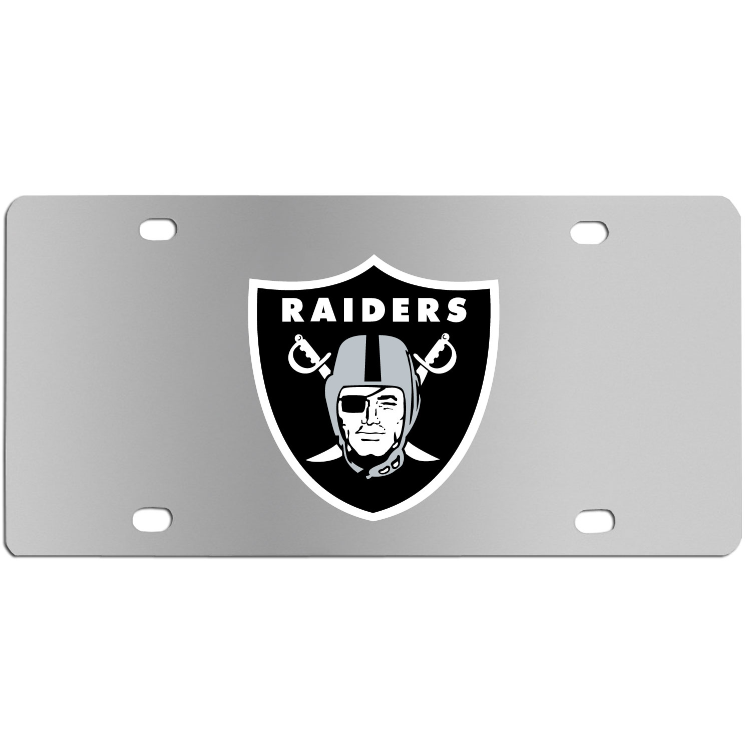 Oakland Raiders Steel License Plate Wall Plaque - This high-quality stainless steel license plate features a detailed team logo on a the polished surface. The attractive plate is perfect for wall mounting in your home or office to become the perfect die-hard Oakland Raiders fan decor.
