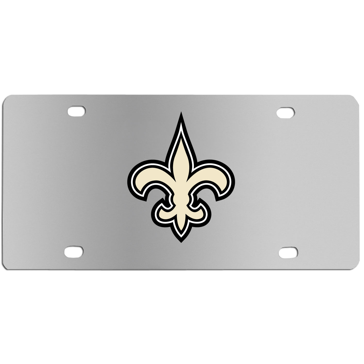 New Orleans Saints Steel License Plate Wall Plaque - This high-quality stainless steel license plate features a detailed team logo on a the polished surface. The attractive plate is perfect for wall mounting in your home or office to become the perfect die-hard New Orleans Saints fan decor.