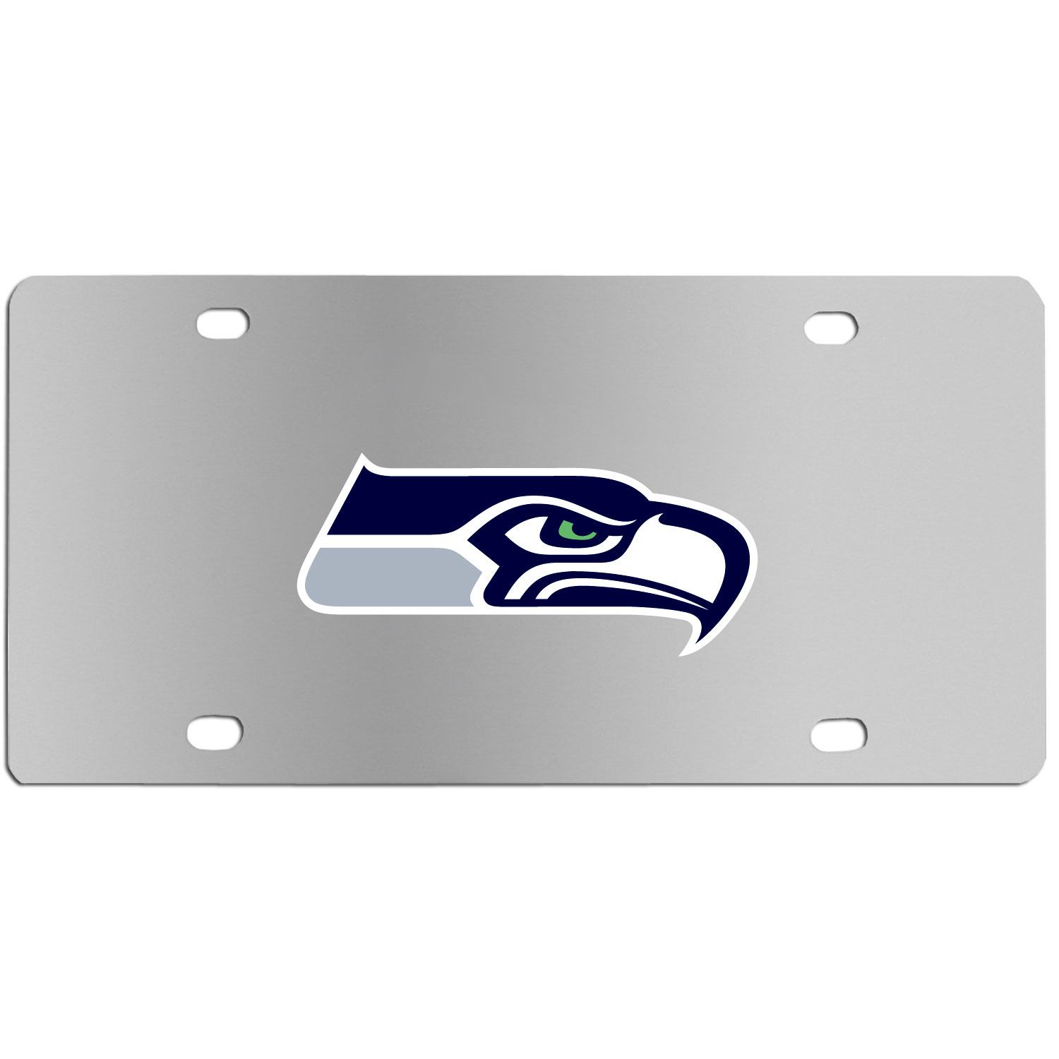 Seattle Seahawks Steel License Plate Wall Plaque - This high-quality stainless steel license plate features a detailed team logo on a the polished surface. The attractive plate is perfect for wall mounting in your home or office to become the perfect die-hard Seattle Seahawks fan decor.