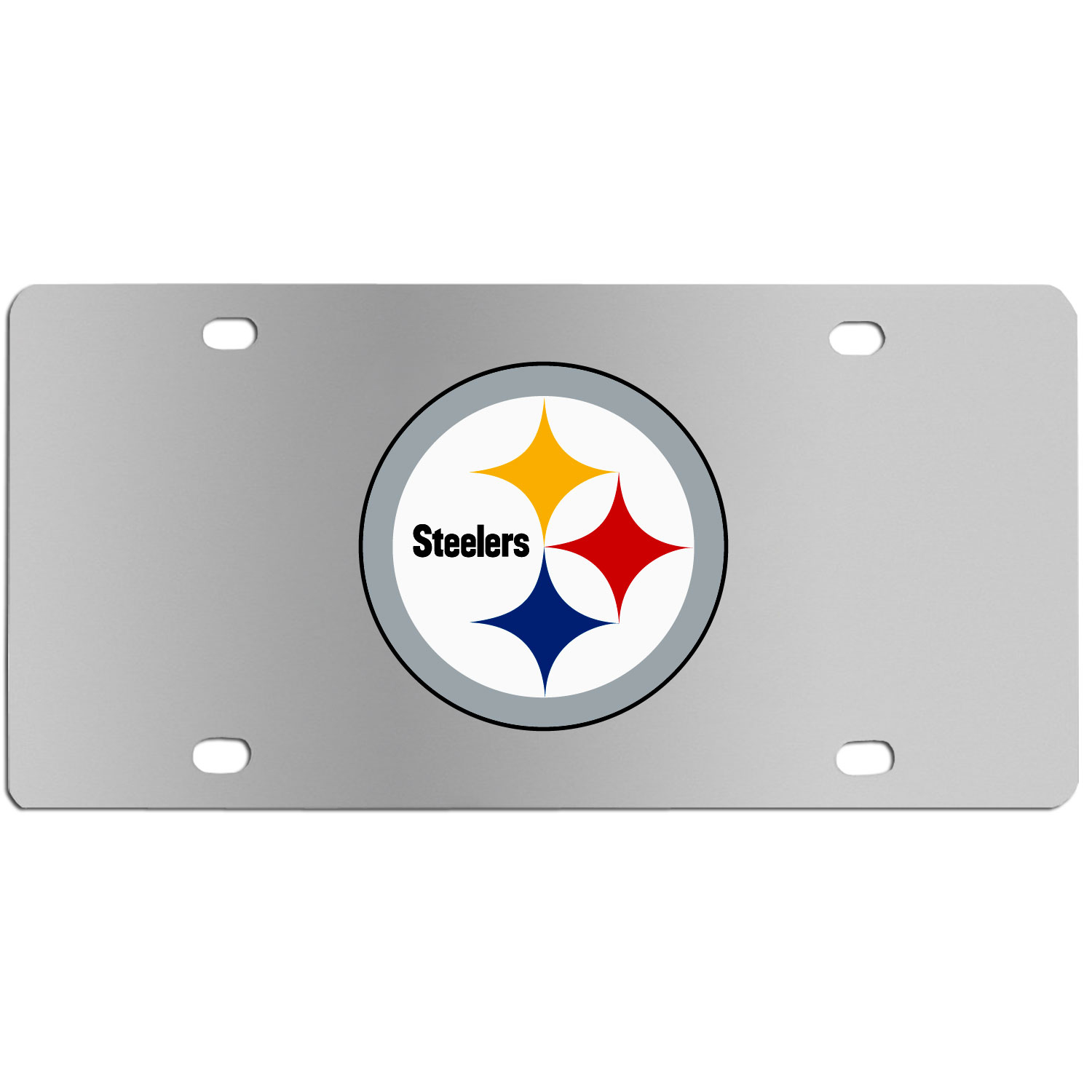 Pittsburgh Steelers Steel License Plate Wall Plaque - This high-quality stainless steel license plate features a detailed team logo on a the polished surface. The attractive plate is perfect for wall mounting in your home or office to become the perfect die-hard Pittsburgh Steelers fan decor.