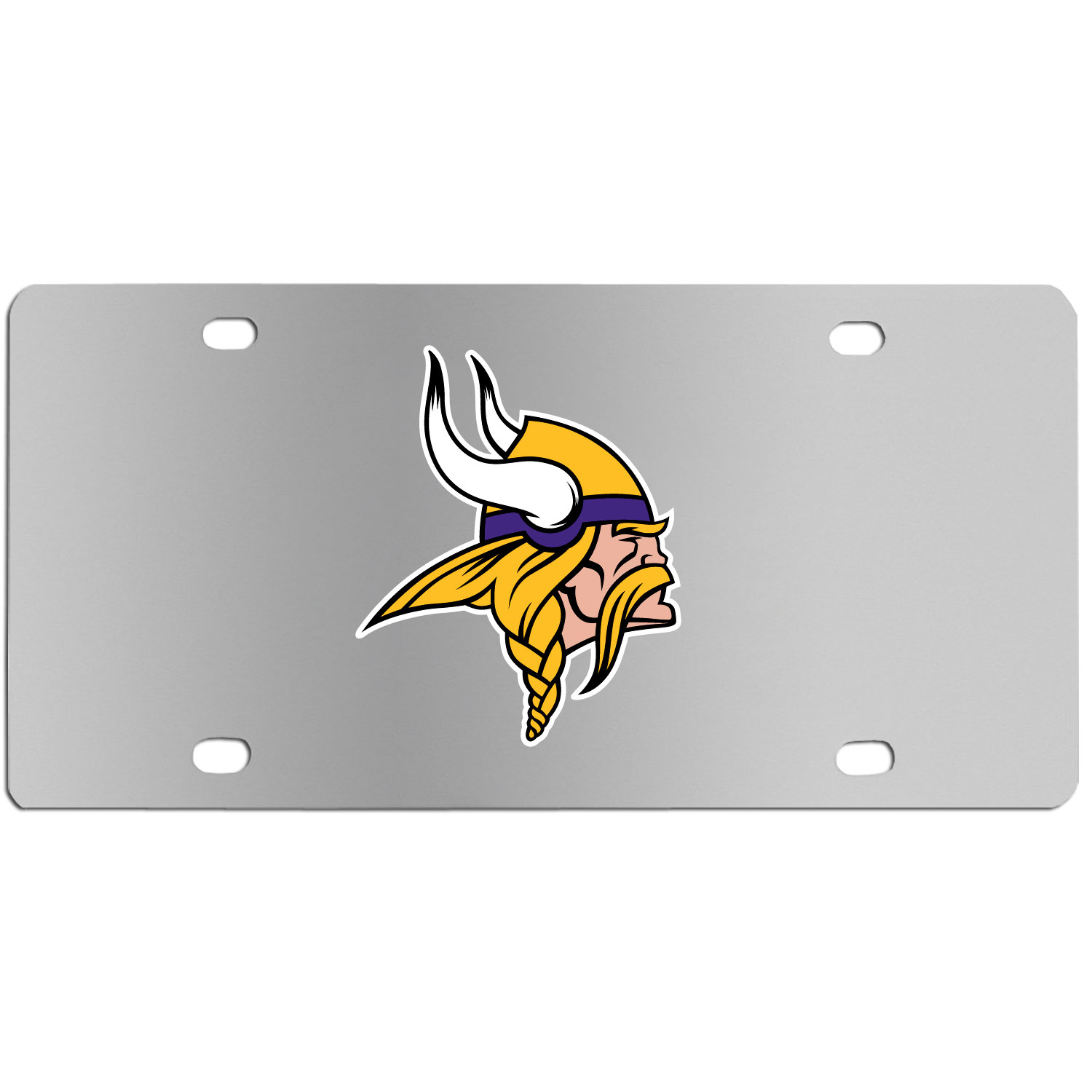 Minnesota Vikings Steel License Plate Wall Plaque - This high-quality stainless steel license plate features a detailed team logo on a the polished surface. The attractive plate is perfect for wall mounting in your home or office to become the perfect die-hard Minnesota Vikings fan decor.