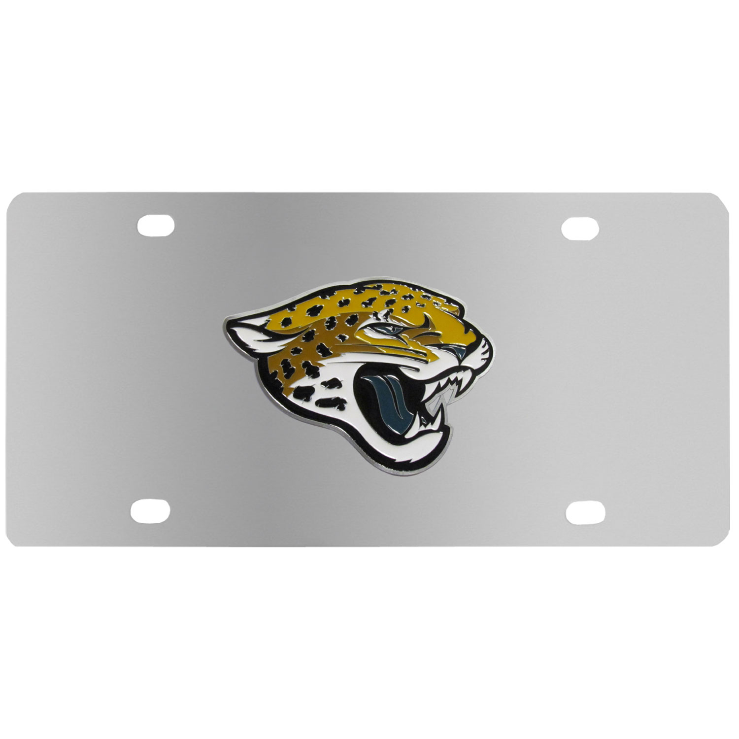 Jacksonville Jaguars Steel License Plate - Show your team spirit with our stainless steel logo plates. Each plate features a carved and enameled Jacksonville Jaguars emblem approximately 4 inches. Great for your vehicle or to hang on the wall in your home or office.