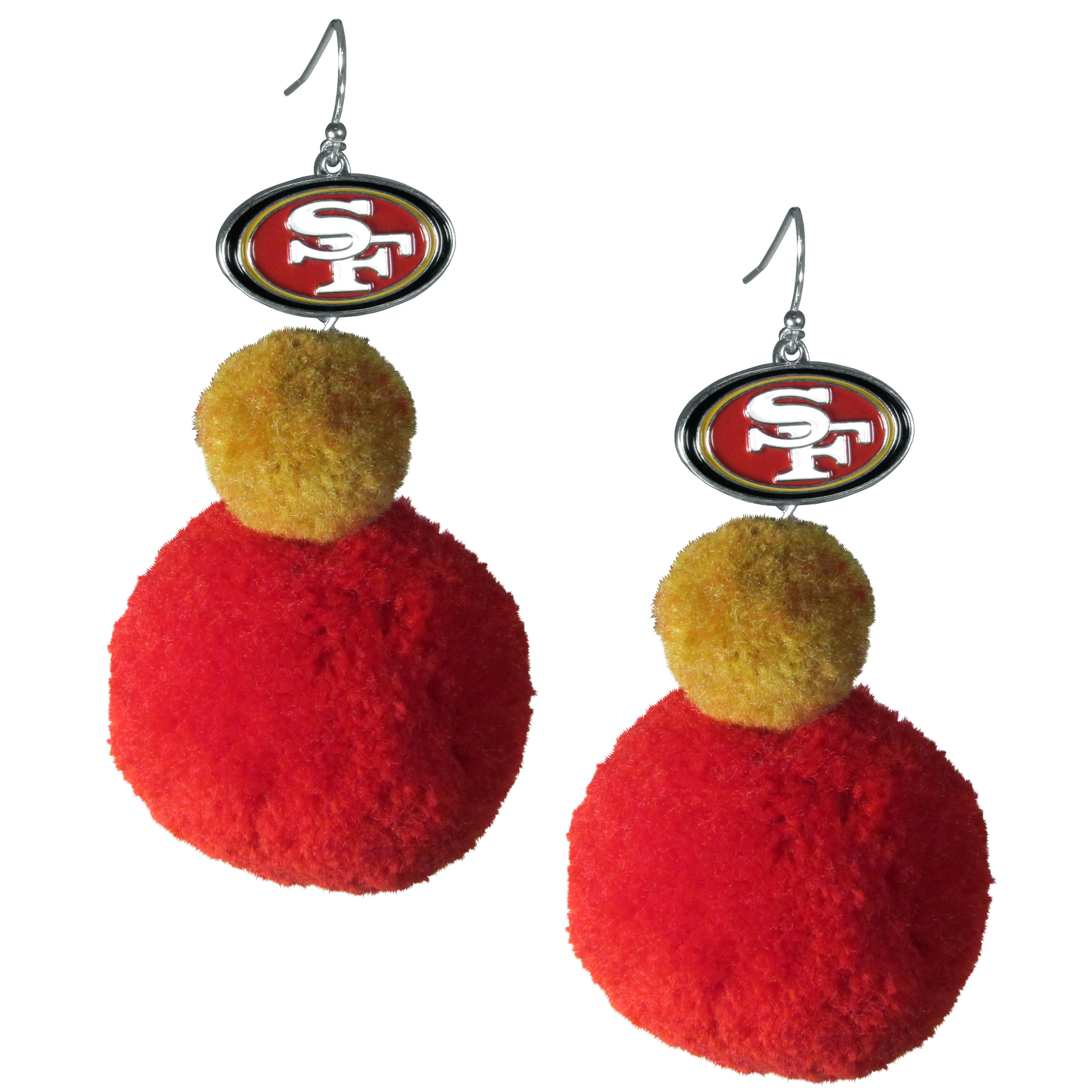 San Francisco 49ers Pom Pom Earrings - These fun and bold earrings are a game day must! The earrings feature a metal San Francisco 49ers charm with enameled color details that hangs above to colorful pom pom charms. The largest pom is 1.5 inches round for, the earrings hang at 3.5 inches long. The fishhook posts are nickel free and hypoallergenic.