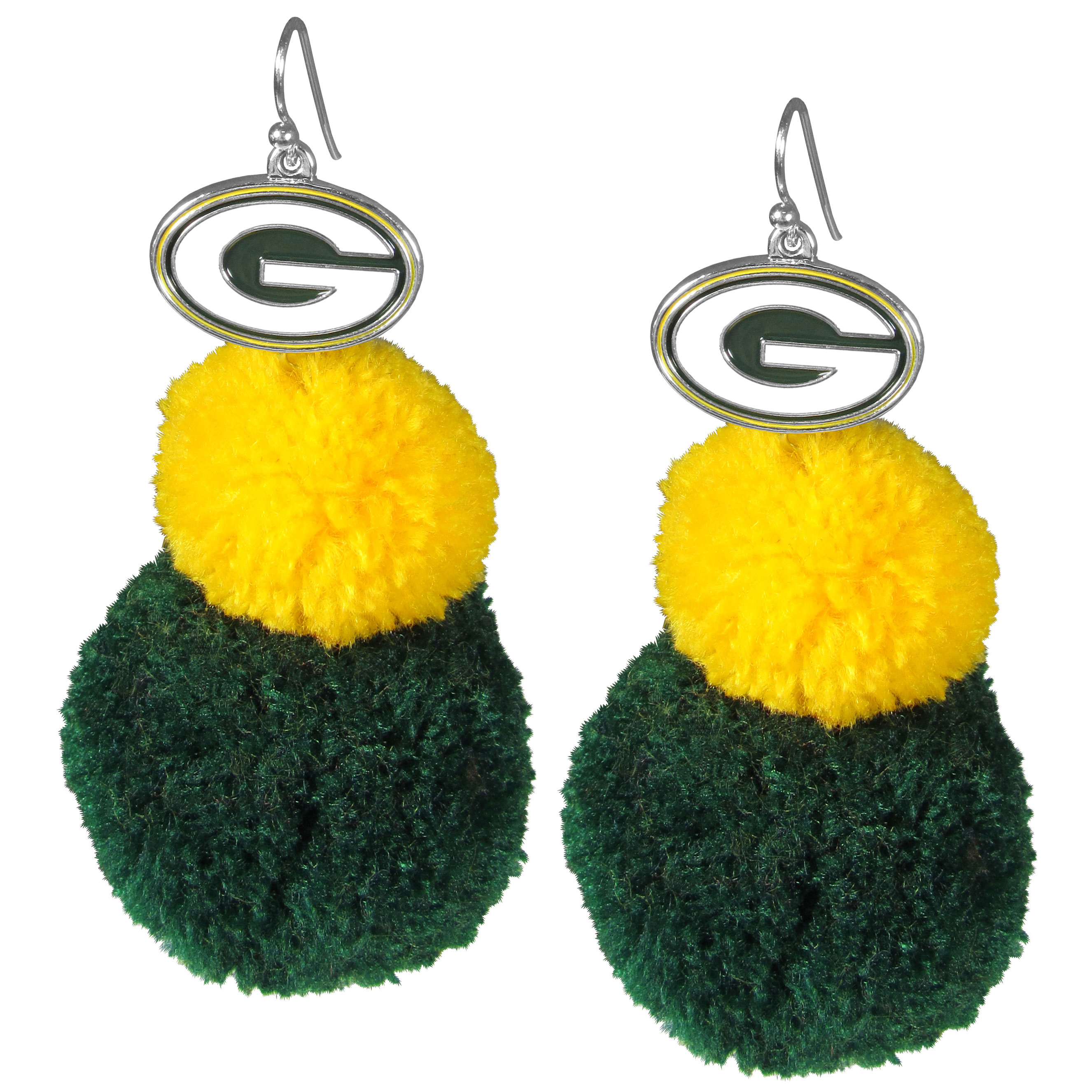 Green Bay Packers Pom Pom Earrings - These fun and bold earrings are a game day must! The earrings feature a metal Green Bay Packers charm with enameled color details that hangs above to colorful pom pom charms. The largest pom is 1.5 inches round for, the earrings hang at 3.5 inches long. The fishhook posts are nickel free and hypoallergenic.