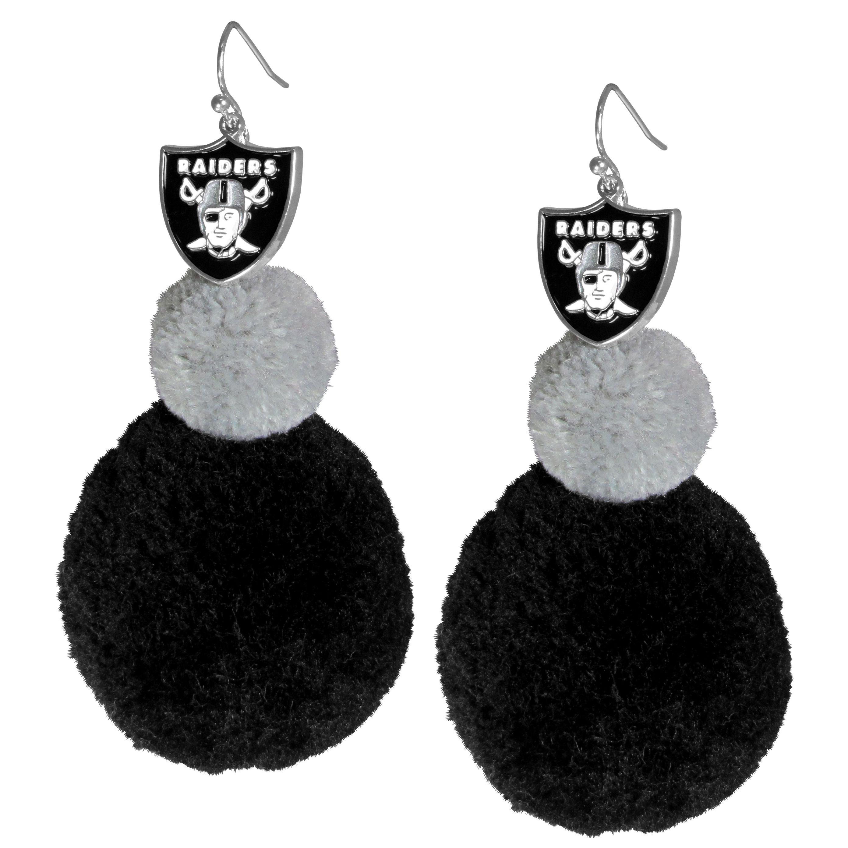 Oakland Raiders Pom Pom Earrings - These fun and bold earrings are a game day must! The earrings feature a metal Oakland Raiders charm with enameled color details that hangs above to colorful pom pom charms. The largest pom is 1.5 inches round for, the earrings hang at 3.5 inches long. The fishhook posts are nickel free and hypoallergenic.