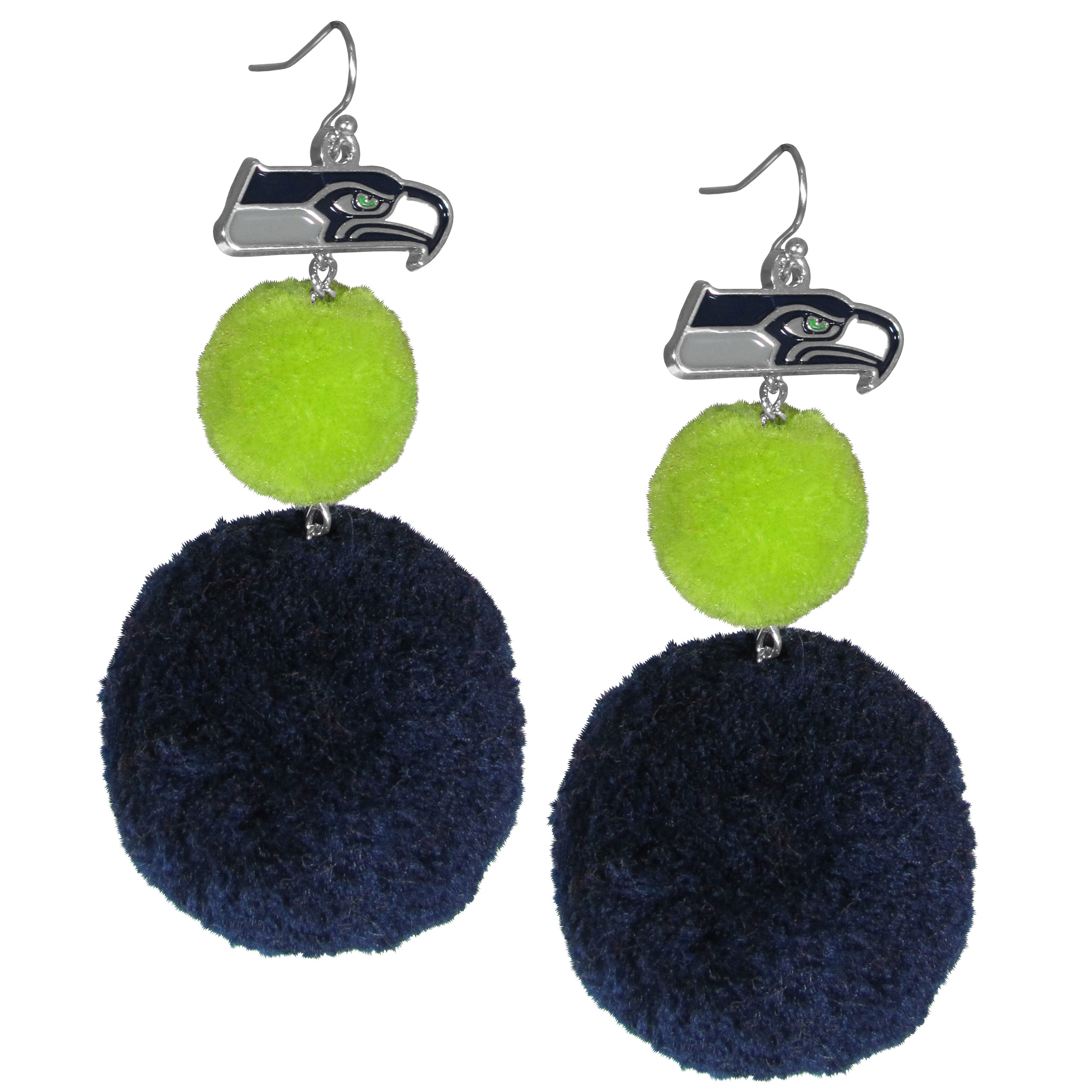 Seattle Seahawks Pom Pom Earrings - These fun and bold earrings are a game day must! The earrings feature a metal Seattle Seahawks charm with enameled color details that hangs above to colorful pom pom charms. The largest pom is 1.5 inches round for, the earrings hang at 3.5 inches long. The fishhook posts are nickel free and hypoallergenic.