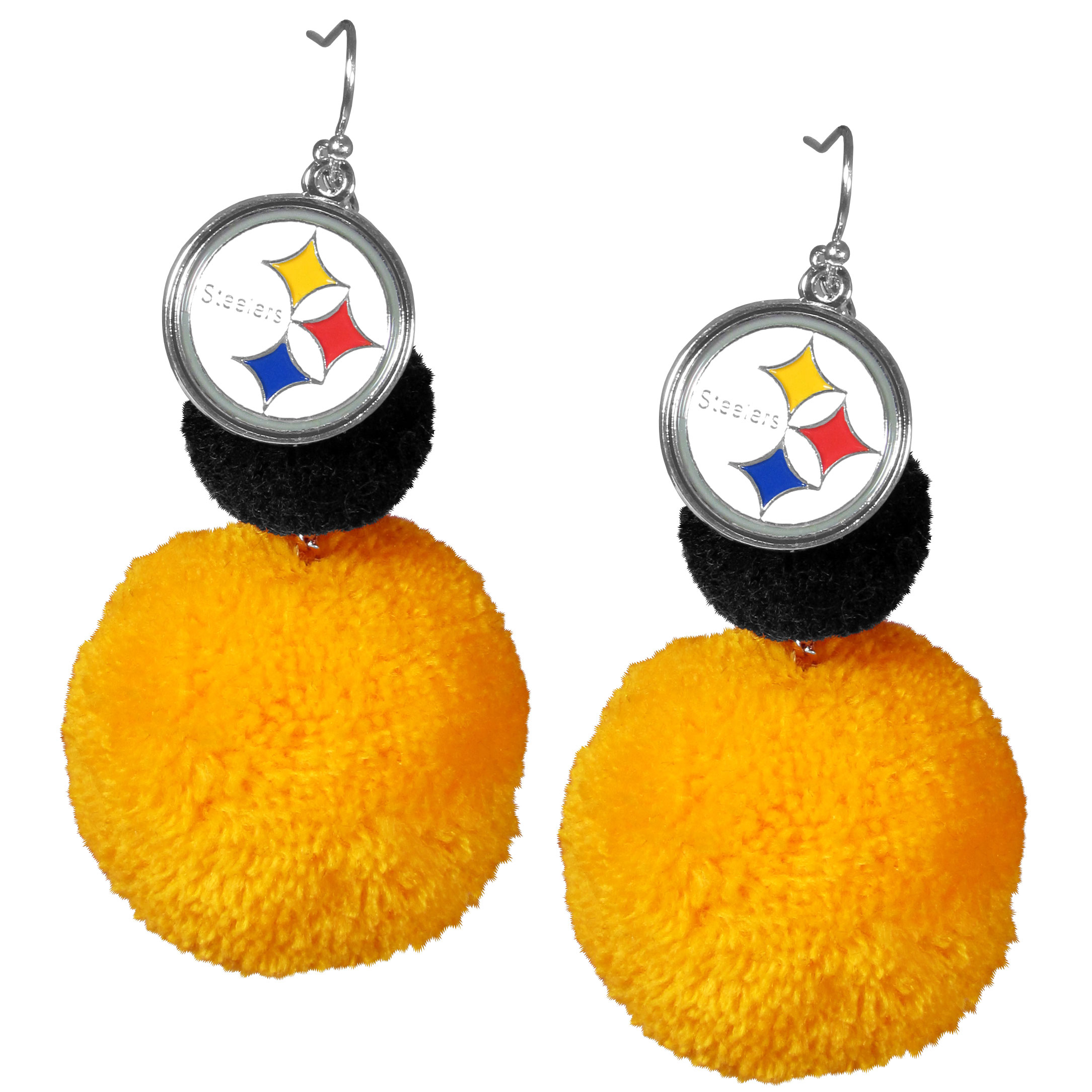 Pittsburgh Steelers Pom Pom Earrings - These fun and bold earrings are a game day must! The earrings feature a metal Pittsburgh Steelers charm with enameled color details that hangs above to colorful pom pom charms. The largest pom is 1.5 inches round for, the earrings hang at 3.5 inches long. The fishhook posts are nickel free and hypoallergenic.