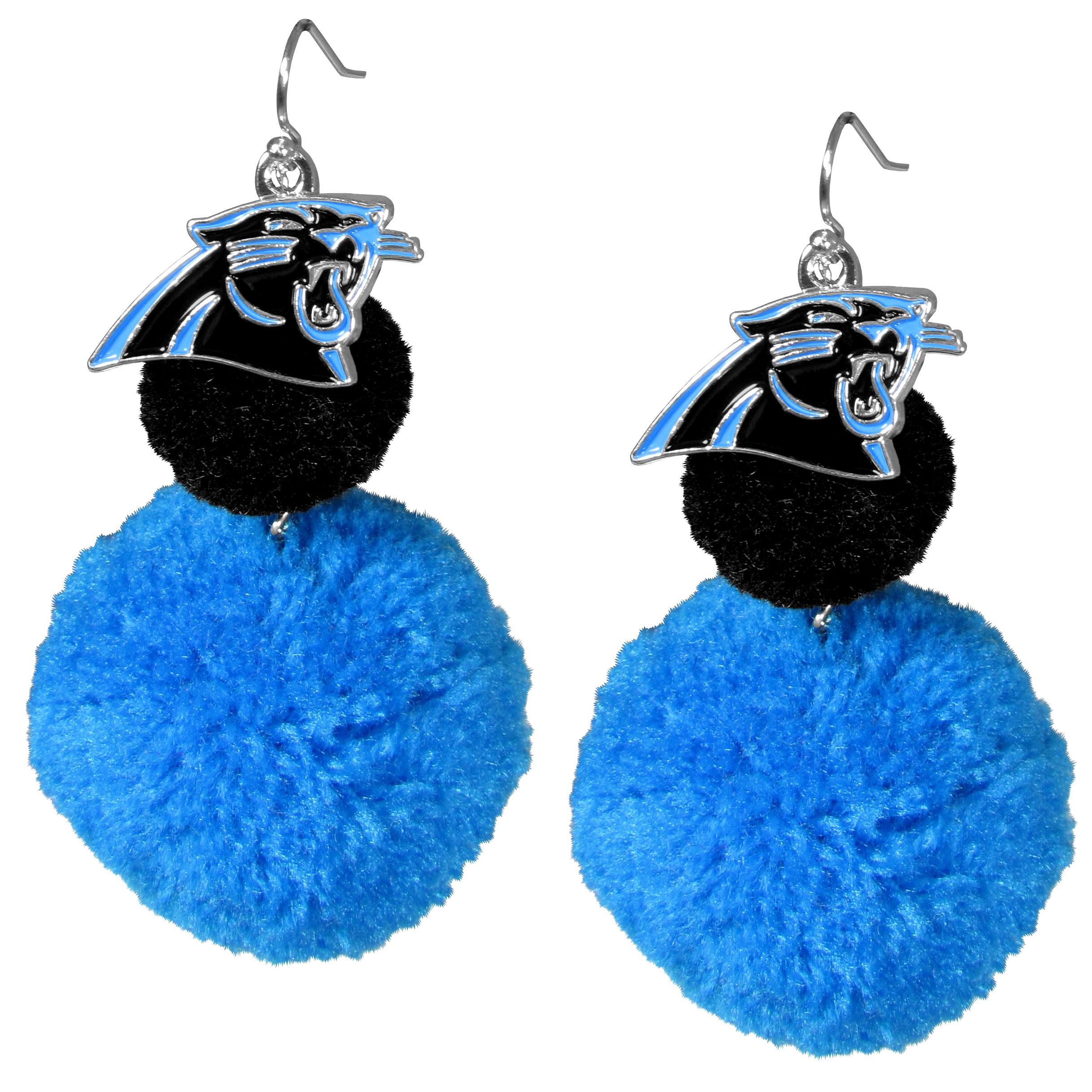 Carolina Panthers Pom Pom Earrings - These fun and bold earrings are a game day must! The earrings feature a metal Carolina Panthers charm with enameled color details that hangs above to colorful pom pom charms. The largest pom is 1.5 inches round for, the earrings hang at 3.5 inches long. The fishhook posts are nickel free and hypoallergenic.