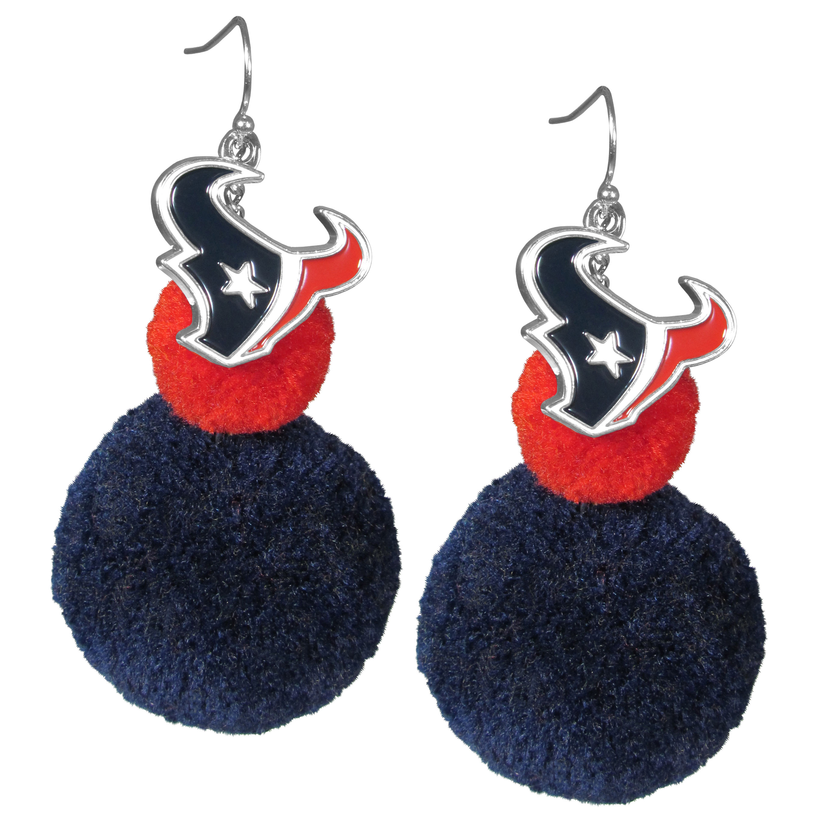 Houston Texans Pom Pom Earrings - These fun and bold earrings are a game day must! The earrings feature a metal Houston Texans charm with enameled color details that hangs above to colorful pom pom charms. The largest pom is 1.5 inches round for, the earrings hang at 3.5 inches long. The fishhook posts are nickel free and hypoallergenic.