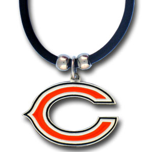 "NFL Logo Pendant - Chicago Bears - NFL logo pendant strung on rubber cord.  Pendants are approximately 1 1/4"" h and enameled in vibrant color.  Features an easy to open/close clasp on a 22"" rubber cord necklace. Check out our entire line of  NFL jewelry. Officially licensed NFL product Licensee: Siskiyou Buckle .com"