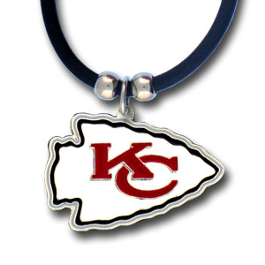 "NFL Logo Pendant - Kansas City Chiefs - NFL logo pendant strung on rubber cord.  Pendants are approximately 1 1/4"" h and enameled in vibrant color.  Features an easy to open/close clasp on a 22"" rubber cord necklace. Check out our entire line of  NFL jewelry. Officially licensed NFL product Licensee: Siskiyou Buckle Thank you for visiting CrazedOutSports.com"
