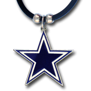 "NFL Logo Pendant - Dallas Cowboys - NFL logo pendant strung on rubber cord.  Pendants are approximately 1 1/4"" h and enameled in vibrant color.  Features an easy to open/close clasp on a 22"" rubber cord necklace. Check out our entire line of  NFL jewelry. Officially licensed NFL product Licensee: Siskiyou Buckle .com"