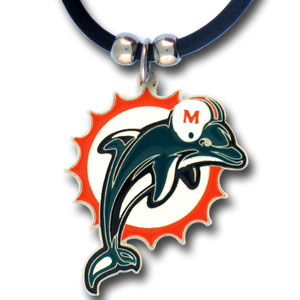 "NFL Logo Pendant - Miami Dolphins - NFL logo pendant strung on rubber cord.  Pendants are approximately 1 1/4"" h and enameled in vibrant color.  Features an easy to open/close clasp on a 22"" rubber cord necklace. Check out our entire line of  NFL jewelry. Officially licensed NFL product Licensee: Siskiyou Buckle Thank you for visiting CrazedOutSports.com"