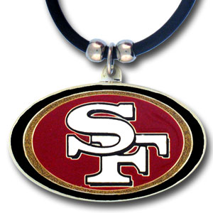 "NFL Logo Pendant - San Francisco 49ers - NFL logo pendant strung on rubber cord.  Pendants are approximately 1 1/4"" h and enameled in vibrant color.  Features an easy to open/close clasp on a 22"" rubber cord necklace. Check out our entire line of  NFL jewelry. Officially licensed NFL product Licensee: Siskiyou Buckle .com"