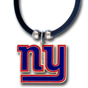 "NFL Logo Pendant - New York Giants - NFL logo pendant strung on rubber cord.  Pendants are approximately 1 1/4"" h and enameled in vibrant color.  Features an easy to open/close clasp on a 22"" rubber cord necklace. Check out our entire line of  NFL jewelry. Officially licensed NFL product Licensee: Siskiyou Buckle Thank you for visiting CrazedOutSports.com"