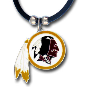 "NFL Logo Pendant - Washington Redskins - NFL logo pendant strung on rubber cord.  Pendants are approximately 1 1/4"" h and enameled in vibrant color.  Features an easy to open/close clasp on a 22"" rubber cord necklace. Check out our entire line of  NFL jewelry. Officially licensed NFL product Licensee: Siskiyou Buckle Thank you for visiting CrazedOutSports.com"