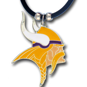 "NFL Logo Pendant - Minnesota Vikings - NFL logo pendant strung on rubber cord.  Pendants are approximately 1 1/4"" h and enameled in vibrant color.  Features an easy to open/close clasp on a 22"" rubber cord necklace. Check out our entire line of  NFL jewelry. Officially licensed NFL product Licensee: Siskiyou Buckle Thank you for visiting CrazedOutSports.com"
