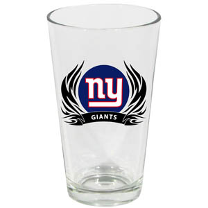 Giants Pint Glass - New York Giants 17 oz pint glass with silk screened logo with tribal flames. This is the perfect addition to any game day get together or just to show off your team pride! Officially licensed NFL product Licensee: Siskiyou Buckle .com