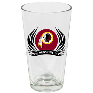 Redskins Pint Glass - Washington Redskins 17 oz pint glass with silk screened logo with tribal flames. This is the perfect addition to any game day get together or just to show off your team pride! Officially licensed NFL product Licensee: Siskiyou Buckle Thank you for visiting CrazedOutSports.com