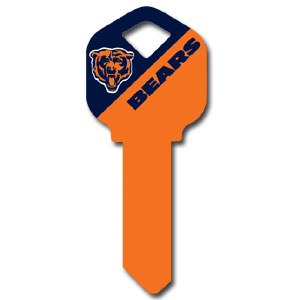 Kwikset NFL Key - Chicago Bears - NFL house keys are a great way to show team spirit while keeping keys organized.  keys can be cut to fit your home or office at the local hardware store or locksmith.  Style pre-fix FQK can be cut to fit Kwikset keys (reference pre-fix FSK for Schlage key). Officially licensed NFL product Licensee: Siskiyou Buckle .com