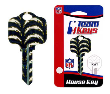 Kwikset NFL Key - San Diego Chargers - NFL house keys are a great way to show team spirit while keeping keys organized.  keys can be cut to fit your home or office at the local hardware store or locksmith.  Style pre-fix FQK can be cut to fit Kwikset keys (reference pre-fix FSK for Schlage key). Officially licensed NFL product Licensee: Siskiyou Buckle .com