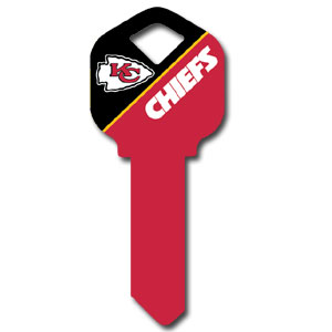 Kwikset NFL Key - Kansas City Chiefs - NFL house keys are a great way to show team spirit while keeping keys organized.  keys can be cut to fit your home or office at the local hardware store or locksmith.  Style pre-fix FQK can be cut to fit Kwikset keys (reference pre-fix FSK for Schlage key). Officially licensed NFL product Licensee: Siskiyou Buckle Thank you for visiting CrazedOutSports.com