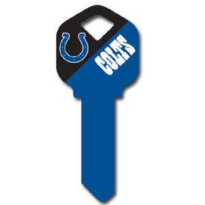 Kwikset NFL Key - Indianapolis Colts - NFL house keys are a great way to show team spirit while keeping keys organized.  keys can be cut to fit your home or office at the local hardware store or locksmith.  Style pre-fix FQK can be cut to fit Kwikset keys (reference pre-fix FSK for Schlage key). Officially licensed NFL product Licensee: Siskiyou Buckle Thank you for visiting CrazedOutSports.com