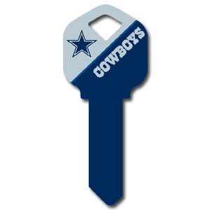 Kwikset NFL Key - Dallas Cowboys - NFL house keys are a great way to show team spirit while keeping keys organized.  keys can be cut to fit your home or office at the local hardware store or locksmith.  Style pre-fix FQK can be cut to fit Kwikset keys (reference pre-fix FSK for Schlage key). Officially licensed NFL product Licensee: Siskiyou Buckle .com